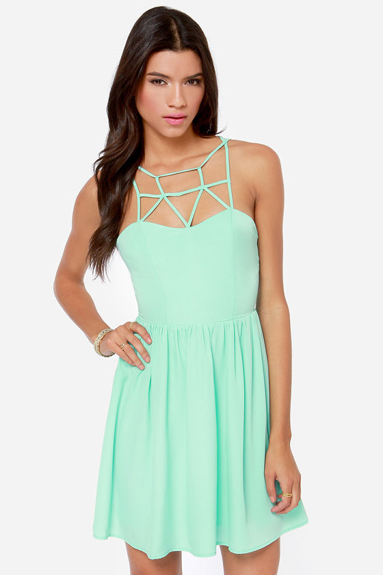 Cute Mint Green Dress Cage Dress Skater Dress Mint