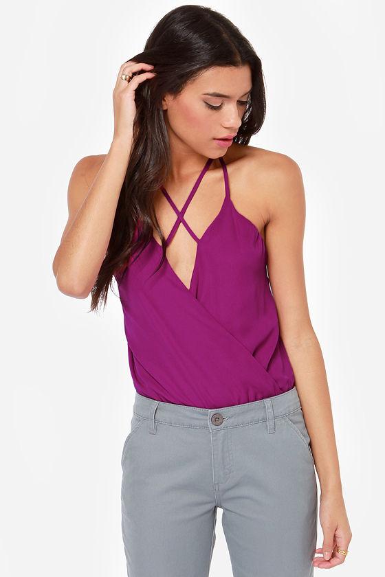 Cross My Mind Magenta Bodysuit at Lulus.com!