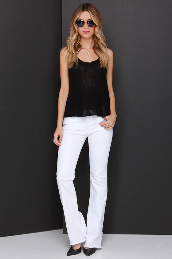 White Jeans - Bootcut Jeans - Flared Jeans - $68.00