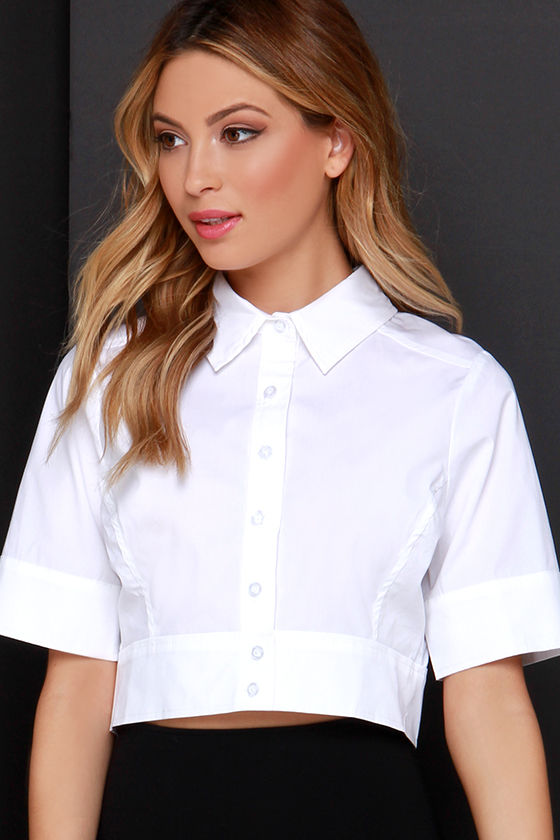 94250d5d999 Ivory Crop Top - White Button-Up Top - Chic Tailored Shirt -  28