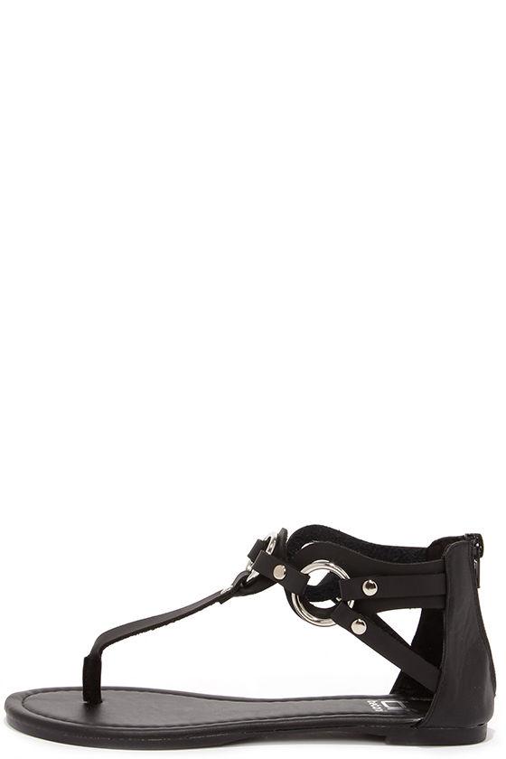 d61907a0c2a Cute Black Sandals - Flat Sandals - Thong Sandals -  24.00