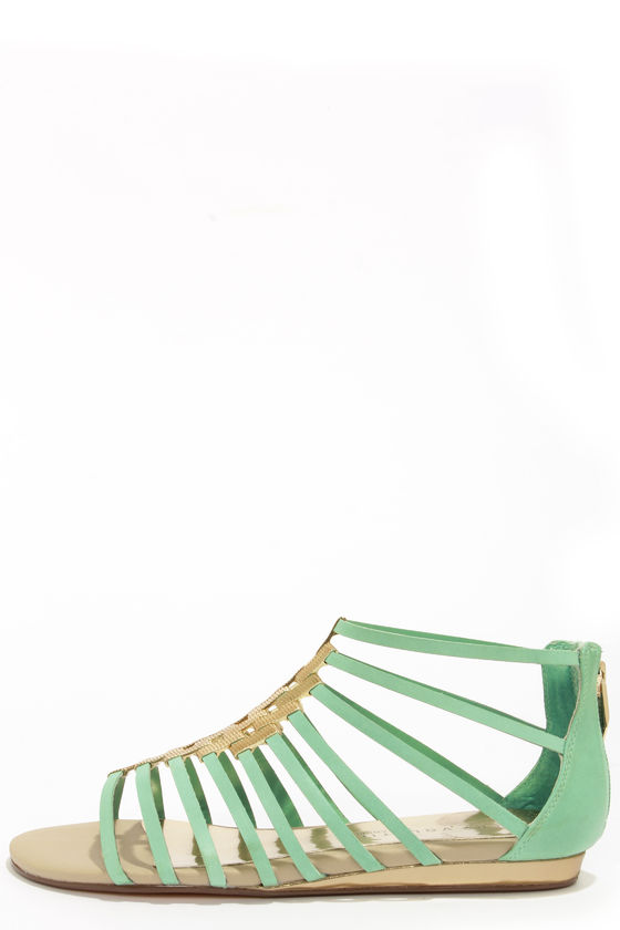 Very Volatile Selkie Mint Leather Gladiator Sandals at Lulus.com!