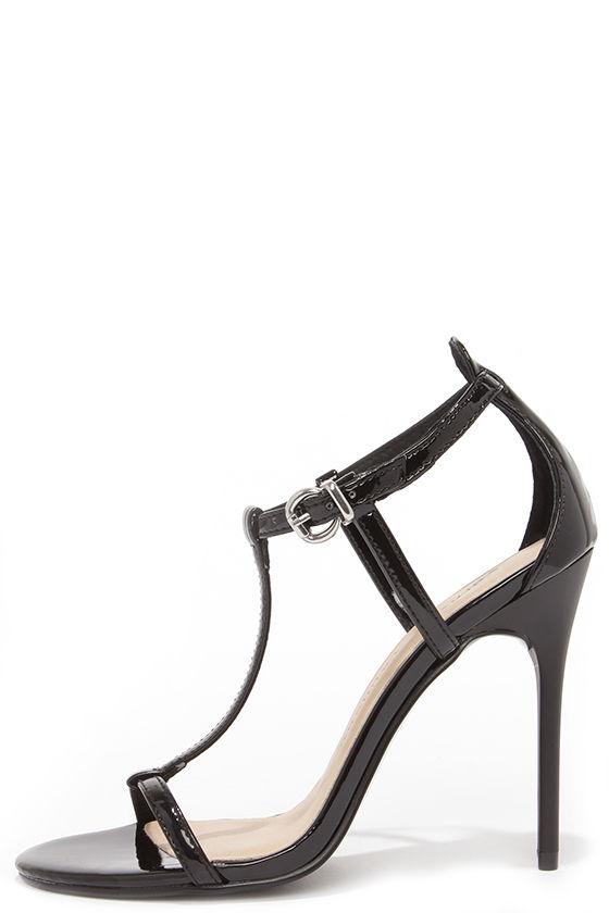 4918b05ae7f34 Pretty Black Heels - T Strap Heels - Dress Sandals -  69.00