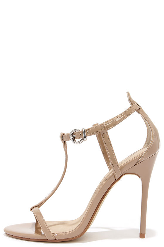 Pretty Nude Heels - T Strap Heels - Dress Sandals - $69.00
