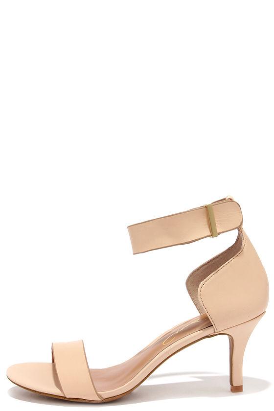 Pretty Nude Heels - Kitten Heels - Peep Toe Heels - $79.00