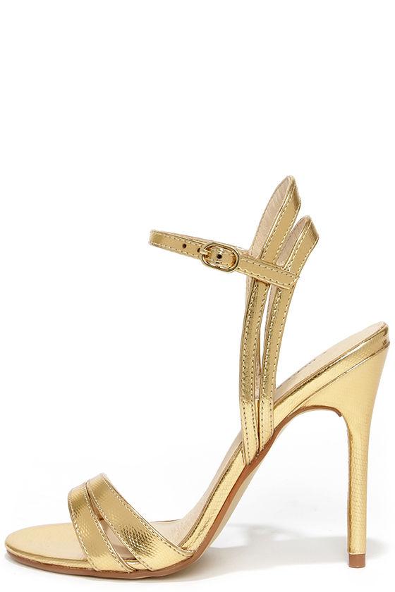 9e2c6a9dd06 Pretty Gold Heels - Dress Sandals - High Heel Sandals -  69.00