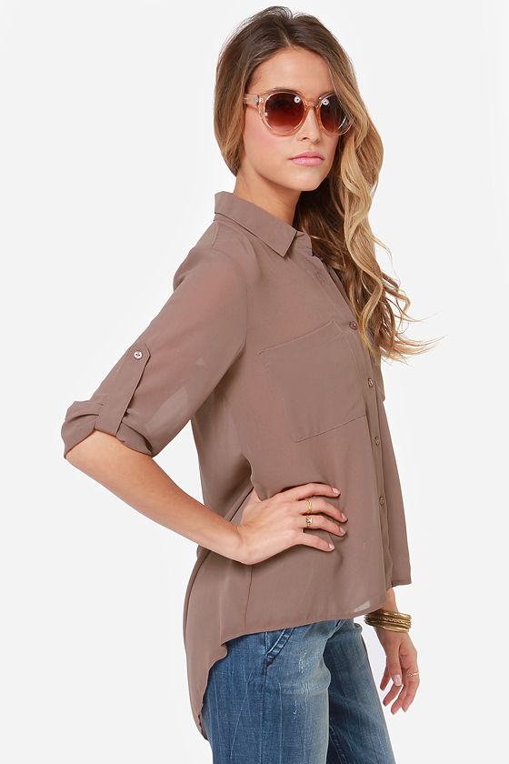 Work It Out Sable Button-Up Top at Lulus.com!