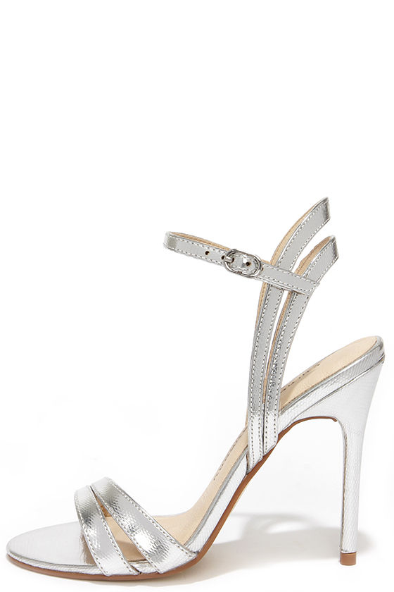 Pretty Silver Heels - Dress Sandals - High Heel Sandals - $69.00