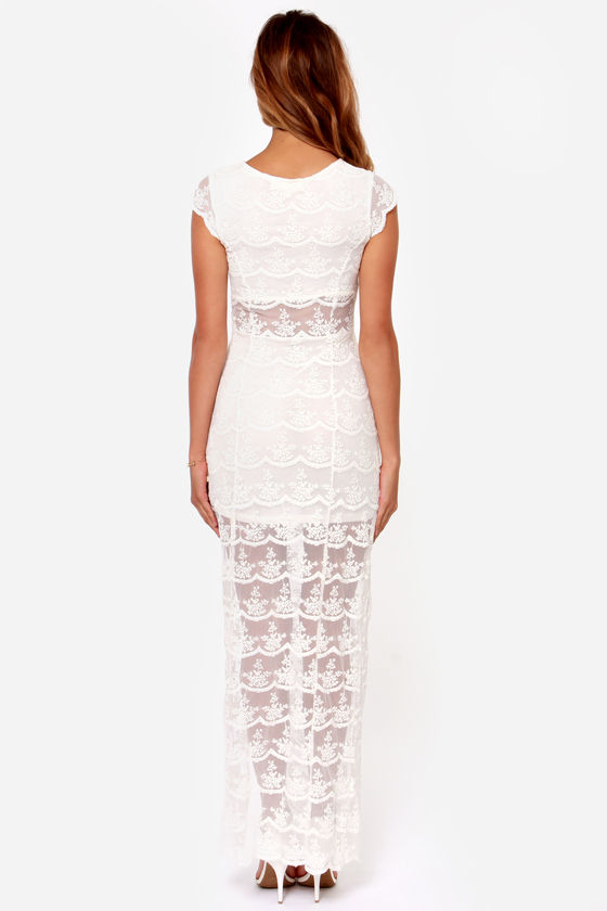 Black Swan Illusion Ivory Lace Maxi Dress at Lulus.com!