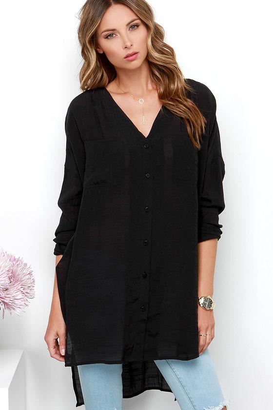 c6bf41d7b6b0b Chic Black Top - Tunic Top - Long Sleeve Top -  48.00