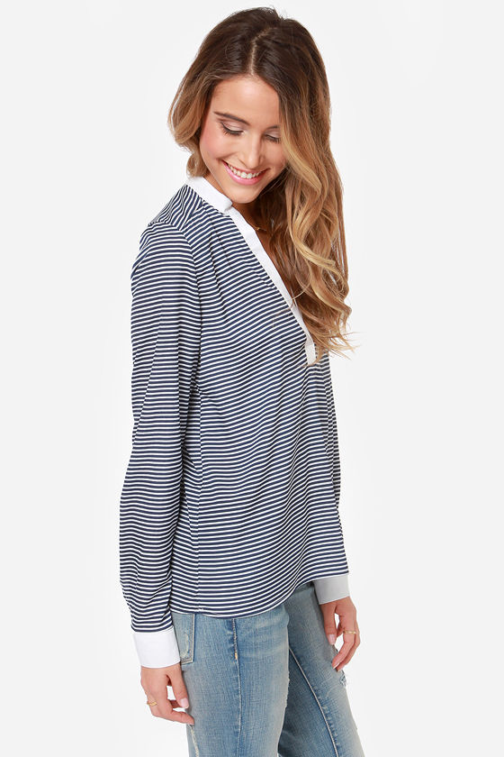 You Yacht It! Ivory and Navy Blue Striped Top at Lulus.com!