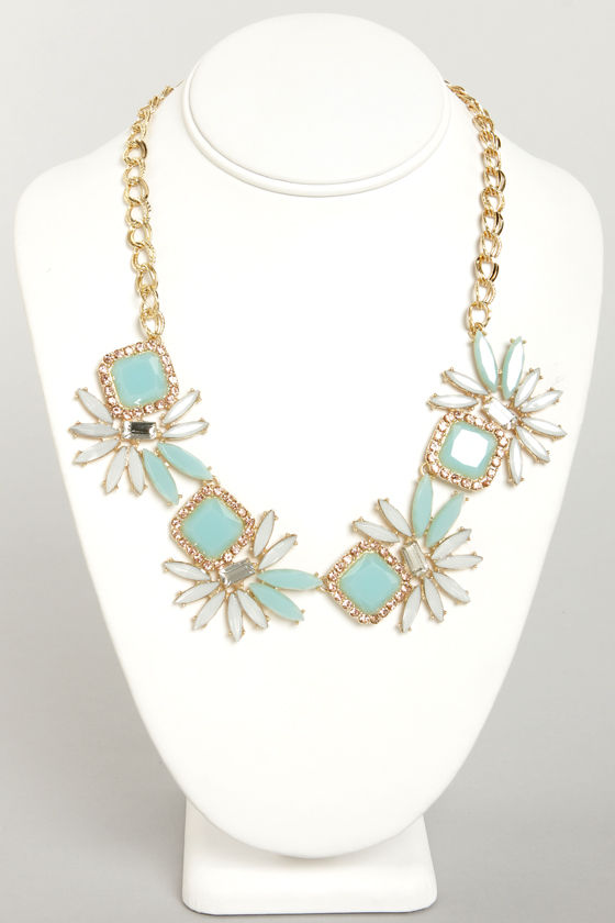 Feeling Fireworks Mint Rhinestone Necklace at Lulus.com!