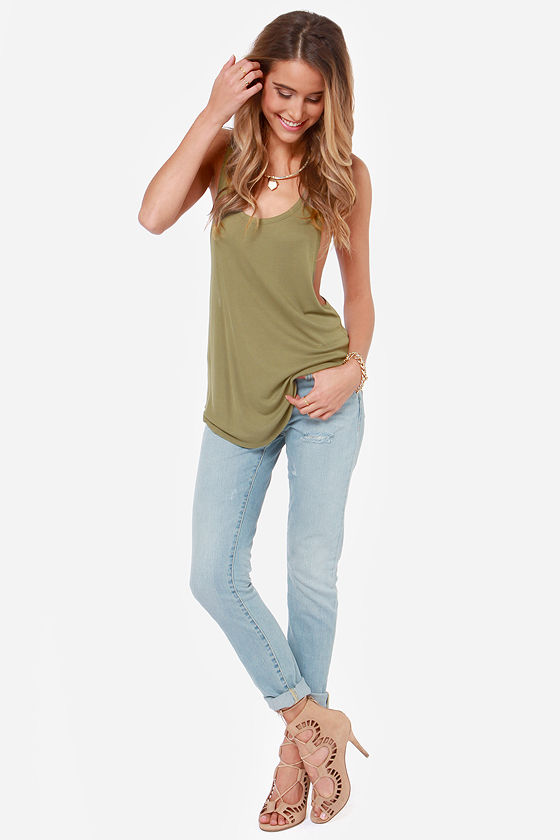 Volcom Lived In Army Green Tank Top at Lulus.com!