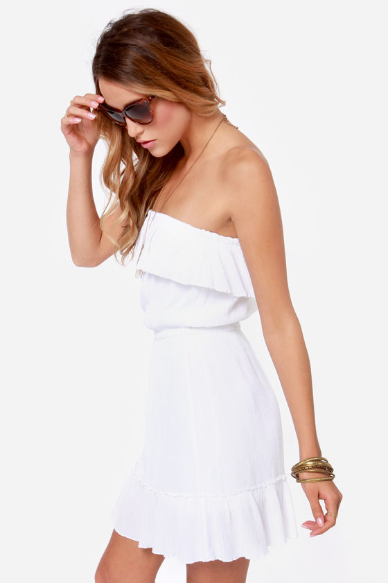 Volcom Love Sick Ivory Strapless Dress at Lulus.com!