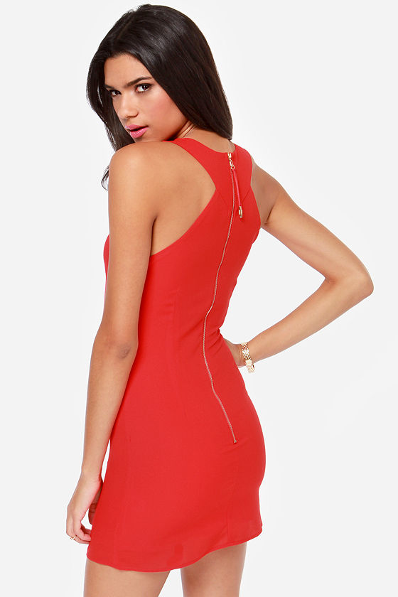 Flirty Business Cutout Red Dress at Lulus.com!