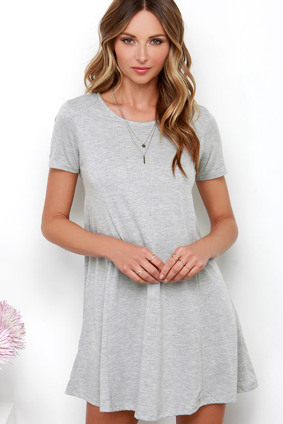 Heather Grey Dress - Grey Swing Dress - Short Sleeve Dress - $78.00