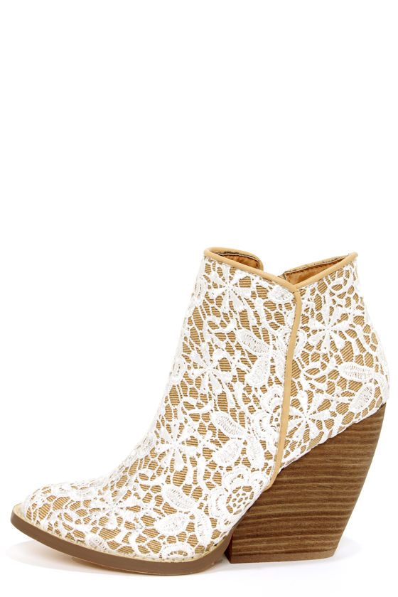 Cute Ankle Boots - Lace Boots - White Boots - $78.00