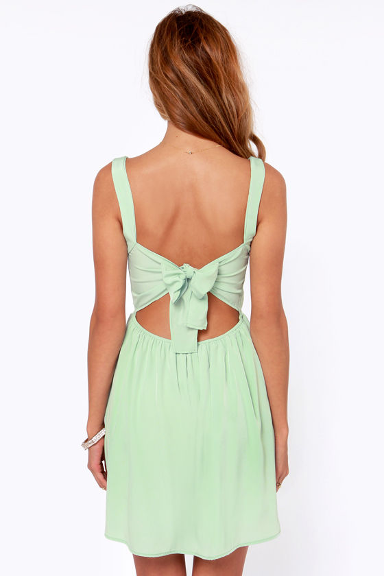 Tie by Night Backless Mint Green Dress at Lulus.com!