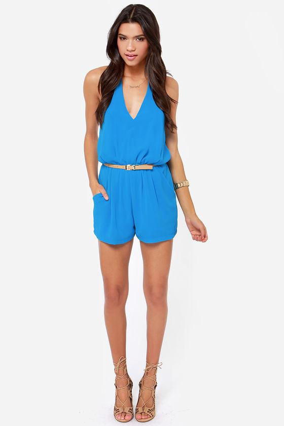 Halter Ego Backless Blue Romper at Lulus.com!