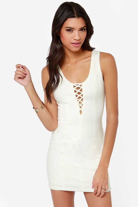Down and Flirty Cutout Ivory Dress at Lulus.com!