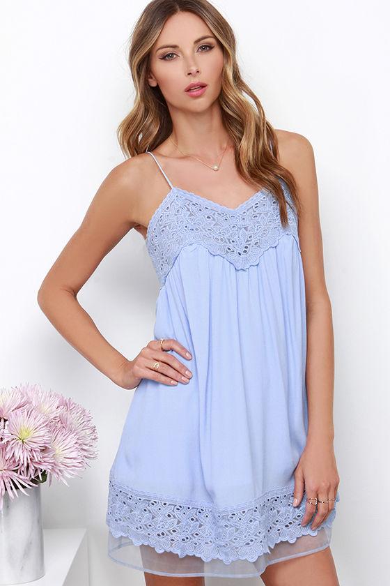 Pretty Periwinkle Blue Dress - Shift Dress - Lace Dress - Organza ...
