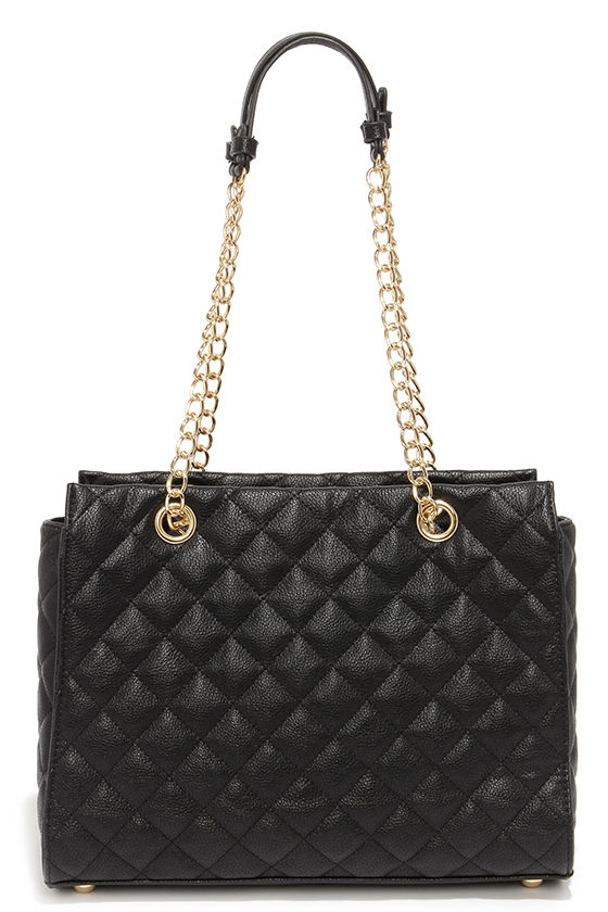 Chic Black Handbag - Quilted Purse - Vegan Leather Purse - $53.00