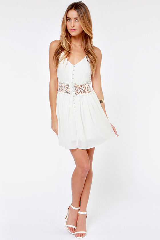Playing Around Ivory Lace Dress at Lulus.com!