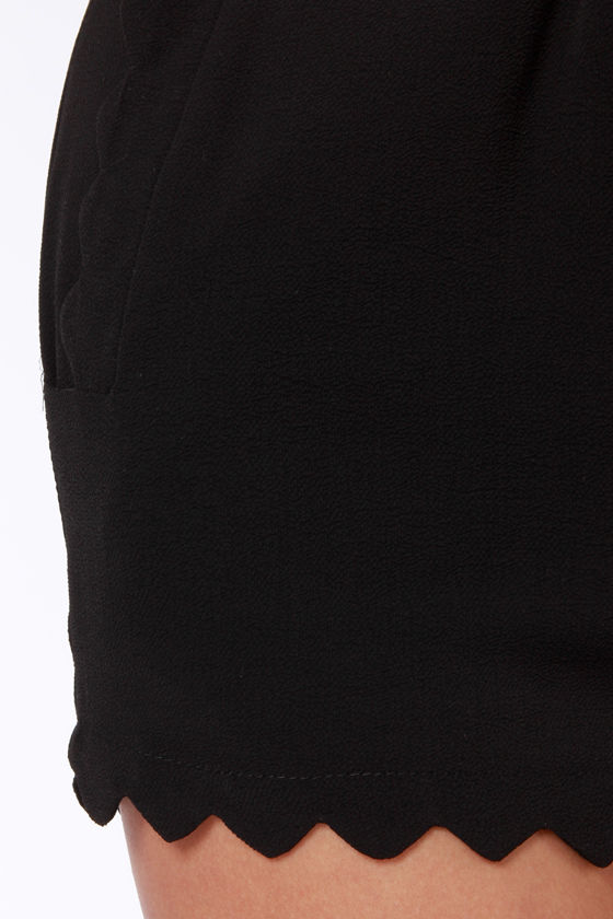 Scallop and At 'Em! Black Shorts at Lulus.com!