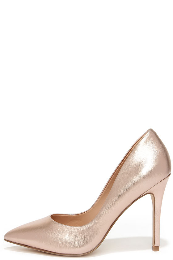 70adfae7b1a1 Pretty Rose Gold Pumps - Pointed Pumps - Rose Gold Heels -  97.00