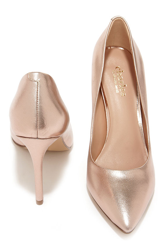 50a30fd595b0 Pretty Rose Gold Pumps - Pointed Pumps - Rose Gold Heels -  97.00