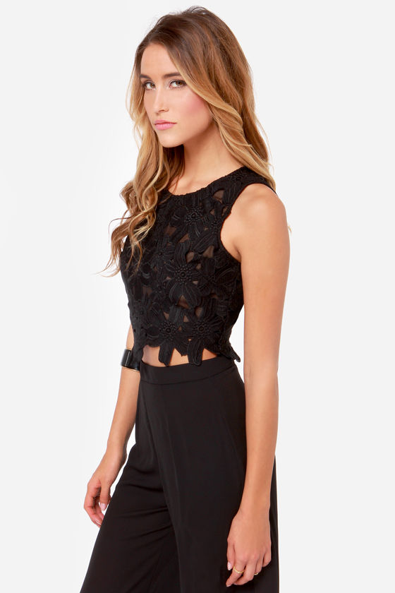 Lady Nightshade Black Lace Crop Top at Lulus.com!