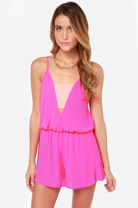 3791c8846c59 Fun Pink Romper - Cutout Romper - Color Block Romper -  38.00