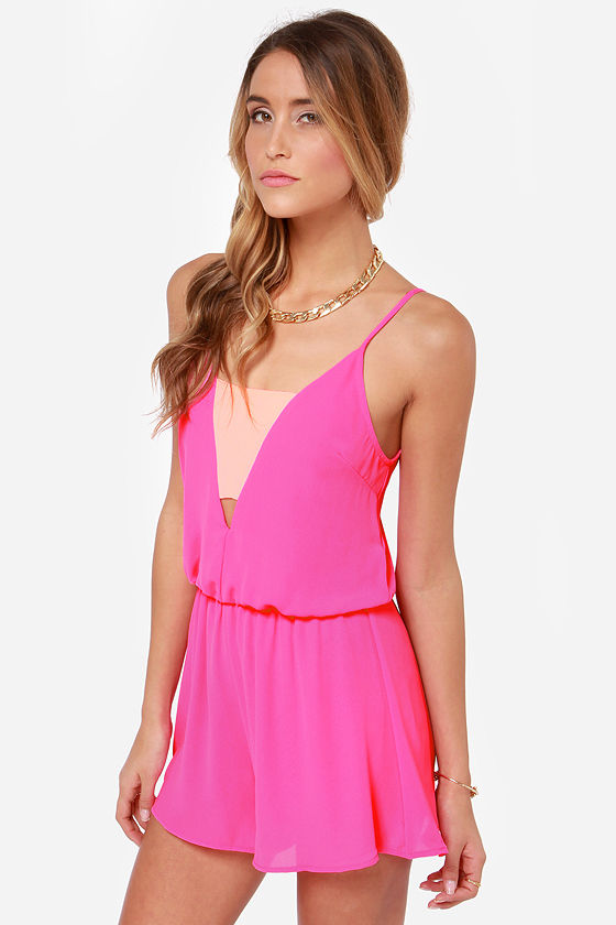 Crowd-Pleaser Hot Pink Romper at Lulus.com!