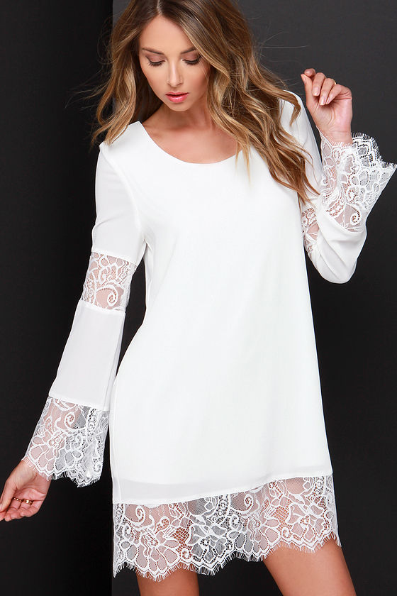Chic Ivory Lace Dress - Shift Dress - White Dress - $48.00