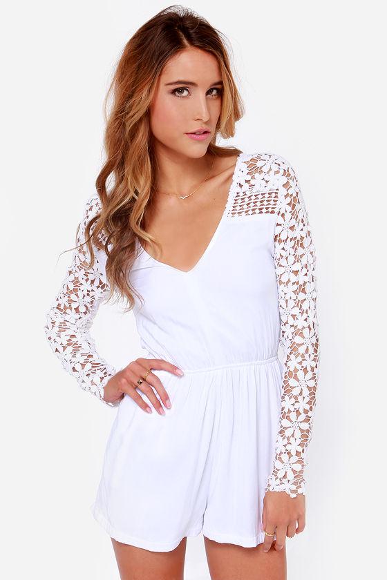79867916ed2c Pretty White Romper - Crocheted Romper - Lace Romper -  53.00
