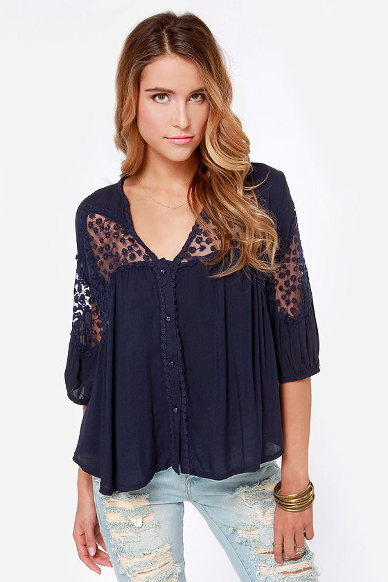 The Blouse Will Play Embroidered Navy Blue Top at Lulus.com!