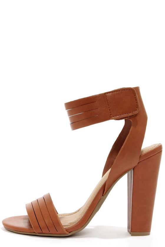 Cute Tan Heels - Ankle Strap Heels - Peep Toe Heels - $31.00