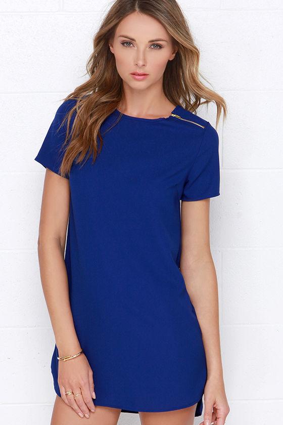 Cute Royal Blue Dress - Zipper Dress - Shift Dress - $28.00