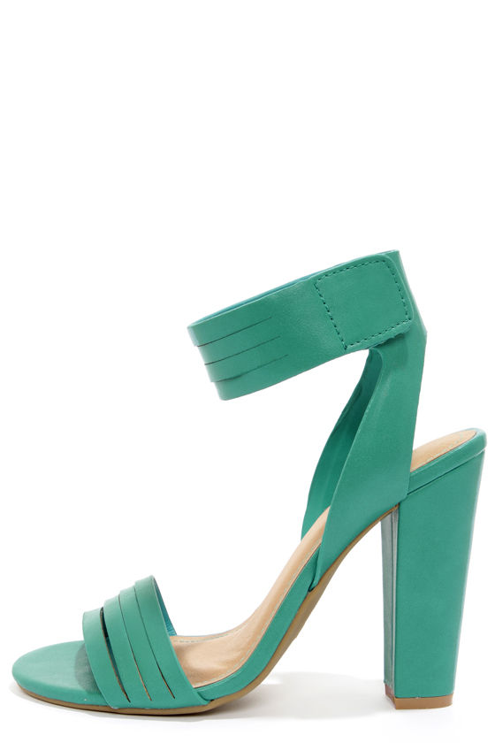 Bamboo Senza 06 Seafoam Ankle Strap Heels at Lulus.com!