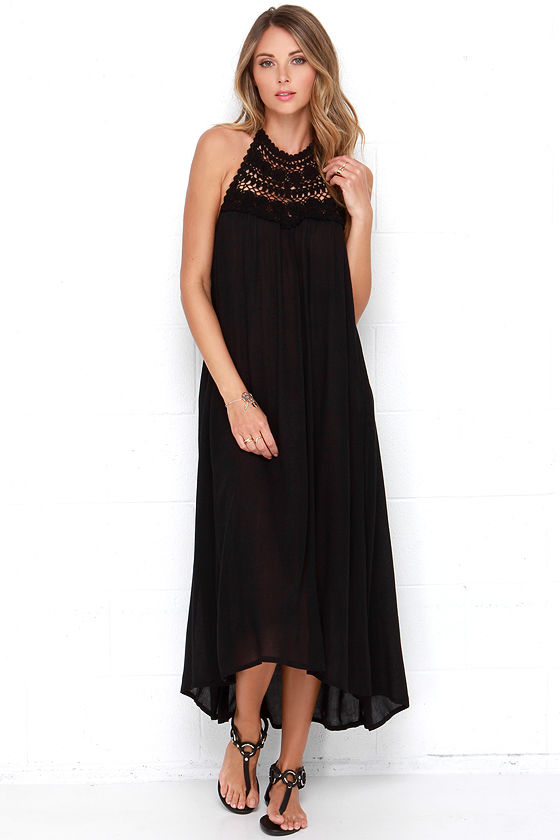 0c803c5f47bfc Billabong Among the Stars Dress - Black Maxi Dress - Crochet Dress -  59.95