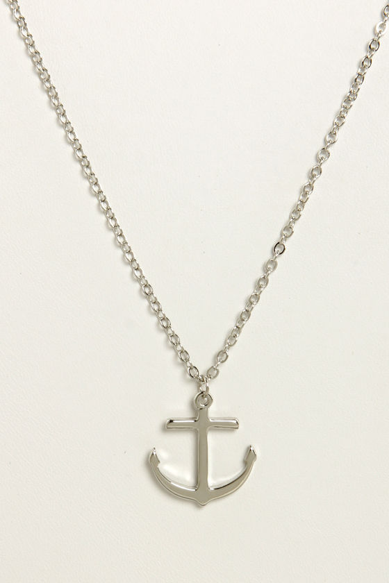 Rock the Boat Silver Anchor Necklace at Lulus.com!