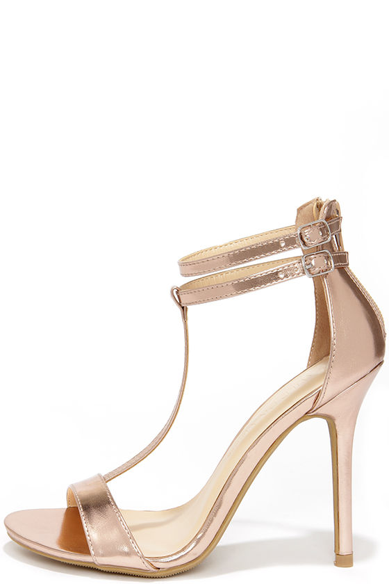 Pretty Rose Gold Heels - T Strap Heels - Dress Sandals - $25.00