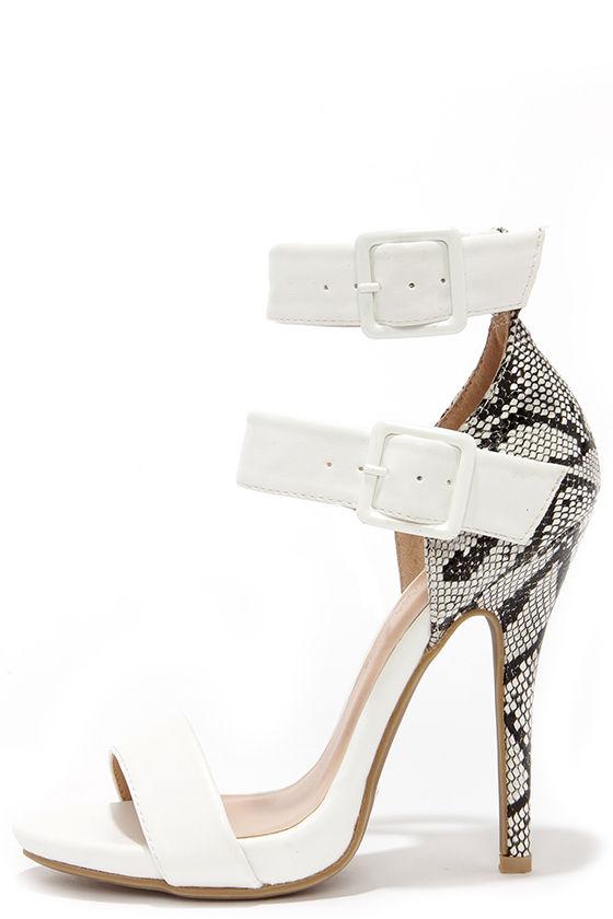 Cute White Heels - Snakeskin Heels - Ankle Strap Heels - $30.00