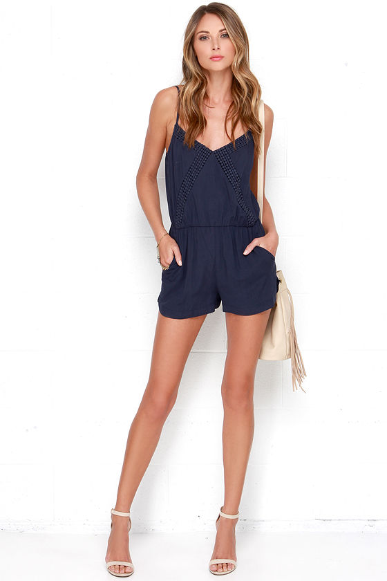 4c0474f008f Cute Navy Blue Romper - Crochet Romper -  40.00