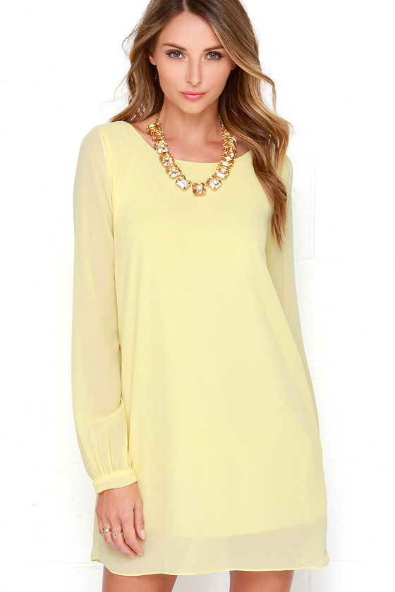 Yellow Chiffon Dress - Long Sleeve Dress - Shift Dress - $38.00