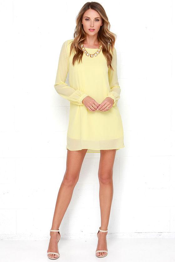 59b609961 Yellow Chiffon Dress - Long Sleeve Dress - Shift Dress -  38.00