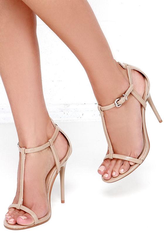 Pretty Nude Heels - T Strap Heels - Dress Sandals - $69.00