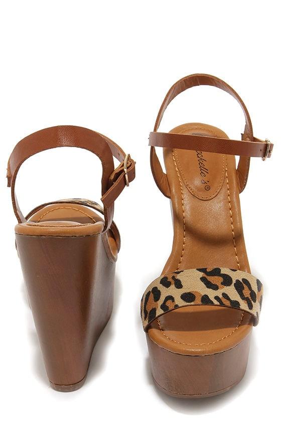 4ca3d4f85e7 Cute Platform Wedges - Leopard Shoes - Wedge Sandals -  30.00