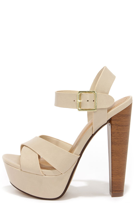 aee1b9ef17c Sexy Beige Heels - Platform Heels - Platform Sandals -  27.00