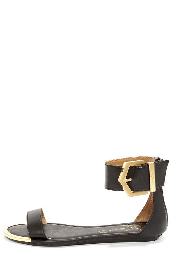3fef0d1bd7d37 Pretty Black Sandals - Ankle Strap Sandals - Leather Sandals -  69.00